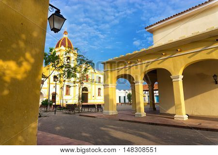View of beautiful yellow colonial architecture in Mompox Colombia