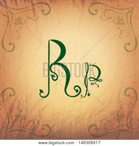 Indonesian Rupiah Handwriting Symbol in Vintage Style on the Aged Paper Background. Vector EPS 10