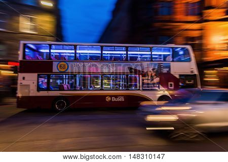 Bus From Lothian Buses At Night In Motion Blur