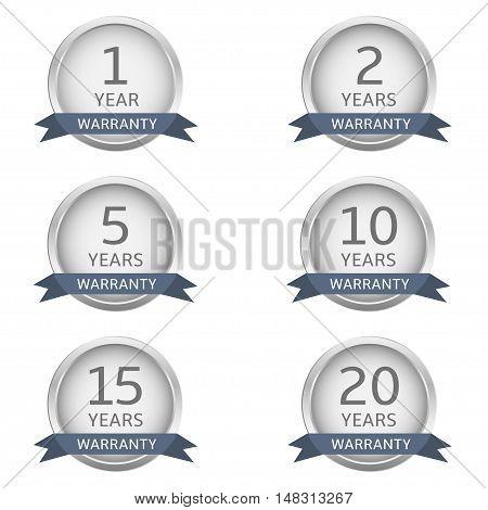 Warranty label set. Silver metal guarantee badges
