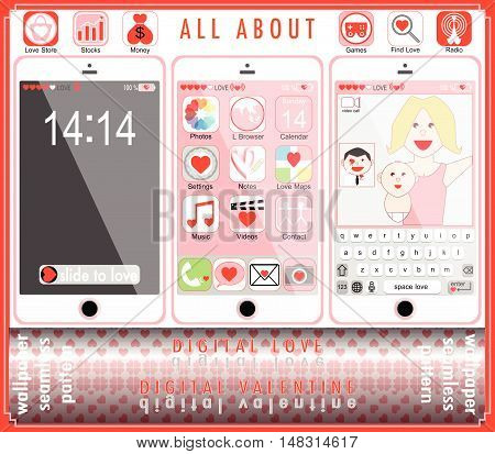 Digital Love Happy Valentine Vector Illustration Decoration, Icon, Wallpaper, Seamless Pattern, Back