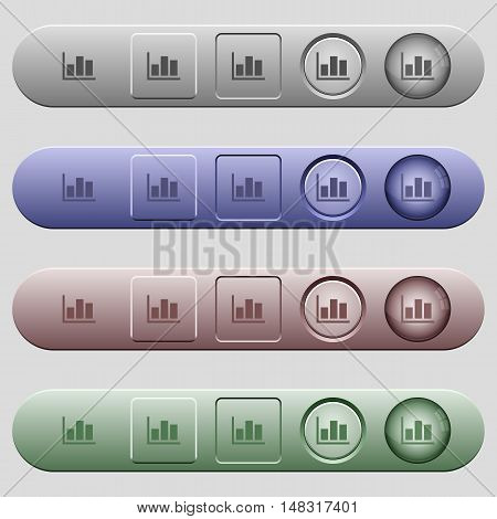 Statistics icons on rounded horizontal menu bars in different colors and button styles