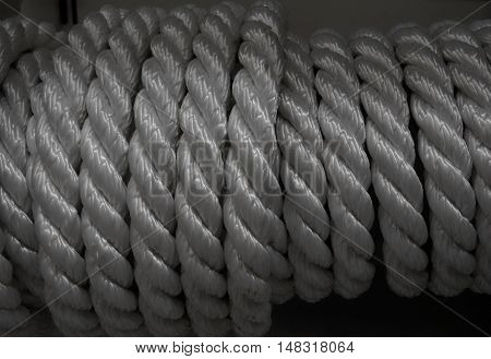 Nylon rough cord in bobbin at the hardware shop stock photo