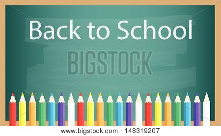 Chalkboard background with back to school text and color pencil crayon. Flat design for business financial marketing banking advertisement commercial website internet banner background template in minimal concept illustration.