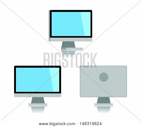 Minimal Desktop pc isolated on white background. Flat design for business financial marketing banking advertising commercial event in minimal concept cartoon illustration.