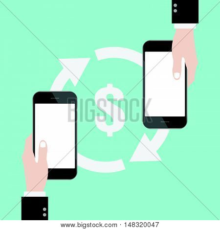 Money transfer sign with hand and smart phone blank white screen. online shopping. mobile banking. Flat design business financial online marketing banking commerce vector concept cartoon illustration.