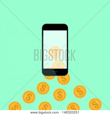 Money transfer with hand and smart phone blank white screen. online shopping. mobile banking. Flat design business financial online marketing banking commerce vector concept cartoon illustration.
