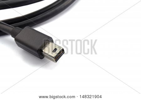 Thunderbolt Cable Closeup Photo. Thunderbolt Data Transfer Cable.
