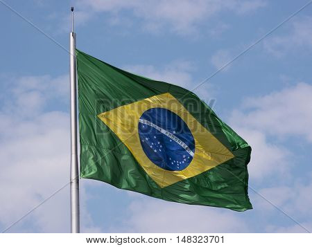 Brazil's flag national wind flying sky blue