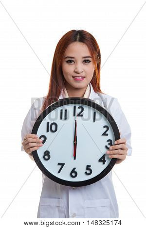 Young Asian Female Doctor Hold A Clock.