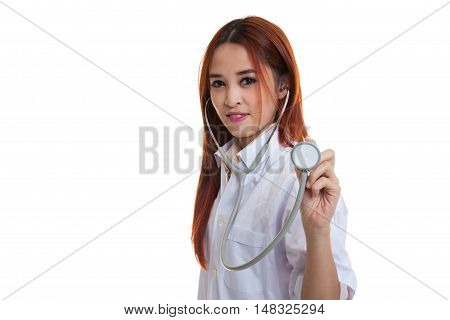 Young Asian Female Doctor With Stethoscope.