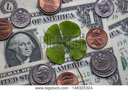 Four leaf clover cash currency coin dollar US
