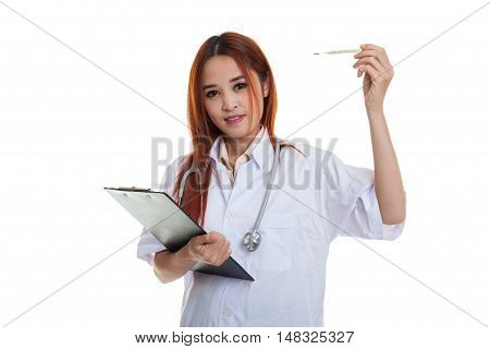 Young Asian Female Doctor With Thermometer And Clipboard.