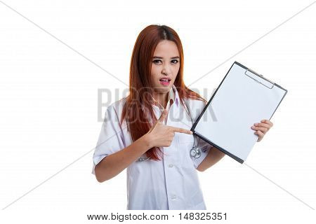 Asian Young Female Doctor Upset  Point To Blank Clipboard.
