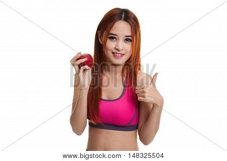 Beautiful Asian Healthy Girl Thumbs Up With Red Apple.