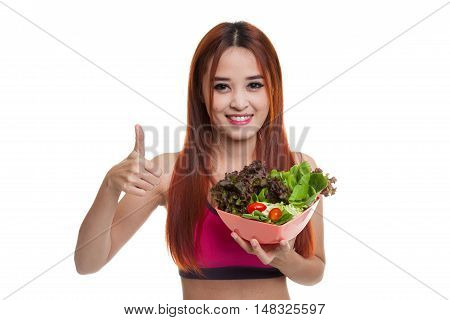 Beautiful Asian Healthy Girl Thumbs Up With Salad.
