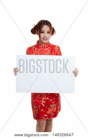 Asian Girl In Chinese Cheongsam Dress With  Red Blank Sign.