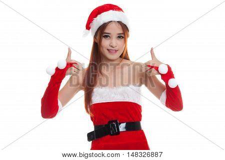 Asian Christmas Santa Claus Girl  Show Thumbs Up.