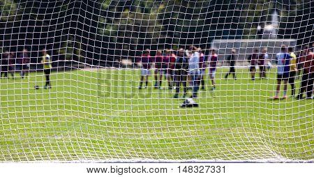 Soccer game - focus on net