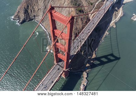Golden Gate Bridge Suspension Tower and Marin Headlands side of San Francisco Bay in California.