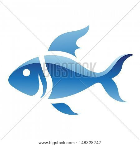 Illustration of Blue Fish Icon isolated on a white background