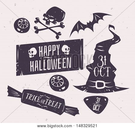 Halloween illustration. Vector set of happy halloween vintage badges, logos emblems and labels. Halloween cardposter. Vector stock illustration.