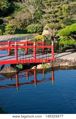 Chinese bridge reflex on lake water with trees behind