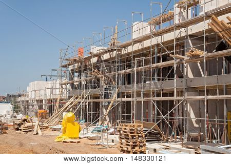 a construction site of a new townhouse settlement