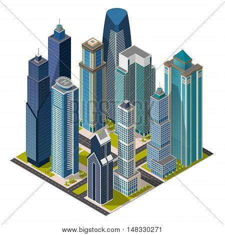 Isometric city, megapolis concept office buildings, skyscraper, street. Vector 3d top view