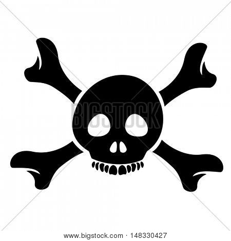 Illustration of Skull and the Crossbones Cartoon isolated on a white background