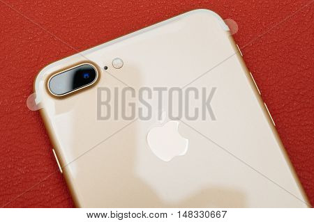 PARIS FRANCE - SEP 16 2016: New Apple iPhone 7 Plus unboxing in the first day of sales - two camera lens and plastic film on phone. New Apple iPhone acclaims to become the most popular smart phone in the world in 2016