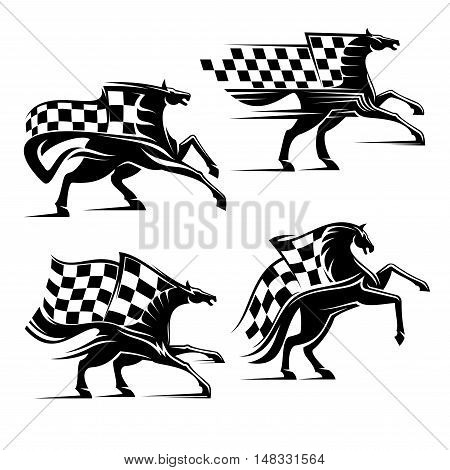 Horse with checkered flag. Horse racing emblem. Car races vector icons for sport club, bookmaker signboard, team shield, badge, label