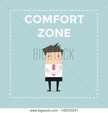 Businessman standing in comfort zone. vector illustration