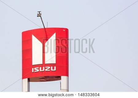 NAKORN RATCHASIMATHAILAND - March 28 2016 : Isuzu Motors automobile dealership sign in Korat Thailand on March 28 2016. ISUZU is a Japanese commercial vehicles and diesel engine manufacturing company.