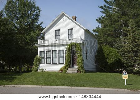 GRAND RAPIDS MINNESOTA USA - AUGUST 6 2016: The birthplace of film legend Judy Garland star of the Wizard of Oz. Judy lived in this home till she was four years old.