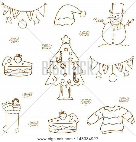 Christmas doodle set flat vector collection stock
