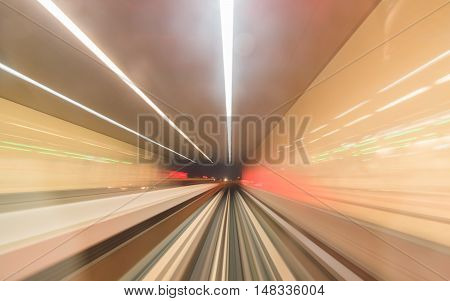 Speed subway tunnels, lights and colors with blurred effect