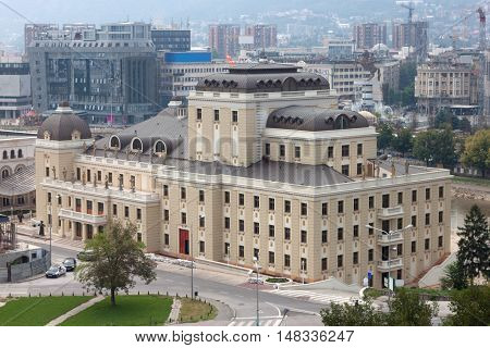 Downtown in the center of Skopje, Macedonia. Skopje is the capital and largest city of the Republic of Macedonia.