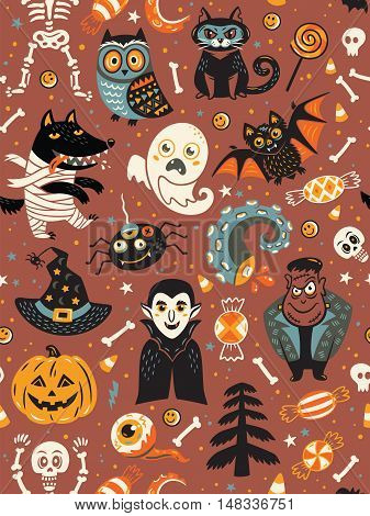 Cute cartoon Halloween seamless pattern with red background. Pumpkin, ghost, bat, candy and owl, cat, wolf, spider, skeleton. Can be used like pattern for wrapping paper, textile, greeting cards and party invitations