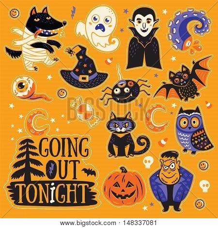 Going out tonight. Stickers collection of characters and icons for Halloween in cartoon style. Pumpkin, ghost, bat, candy and owl, cat, wolf, spider, skeleton. Illustration on yellow background