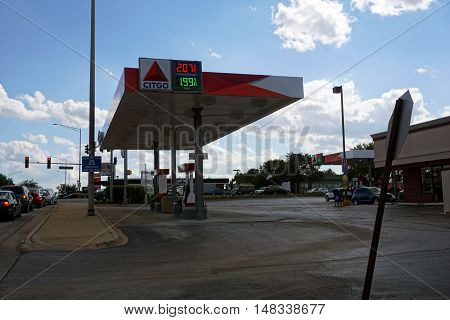 BOLINGBROOK, ILLINOIS / UNITED STATES - SEPTEMBER 17, 2016: People may purchase gasoline at the Citgo gasoline station in Bolingbrook.