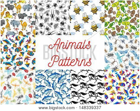 Animals seamless backgrounds set. Wallpapers with pattern of zoo camel, lion, flamingo, rhinoceros, hippopotamus, giraffe, ostrich. Insects fly, dragonfly, bee, butterfly, beetle moth wasp Ocean fishes spiders snakes horses