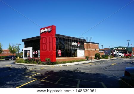 PLAINFIELD, ILLINOIS / UNITED STATES - SEPTEMBER 19, 2016: One may eat hamburgers and other fast food at Wendy's Restaurant in Plainfield.
