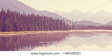 Serenity lake in Alaskan tundra poster