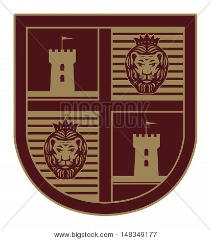 Shield with a lion and castle, vector illustration