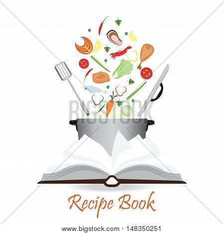 Open recipe book isolated on white with potvegetable and meat conceptual flat design vector illustration.