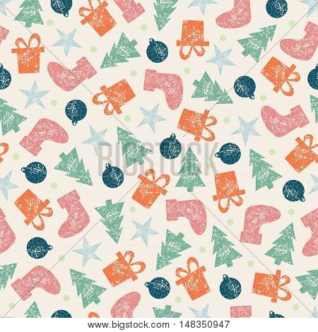 Raster Vintage Christmas Seamless Pattern for Christmas Wrapping Paper. Xmas Illustration with Presents, Santa's Socks, Christmas Tree, Christmas Toys and Stars. Grunge Retro Style