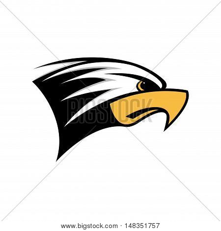 Vector sign head of eagle  isolated in white