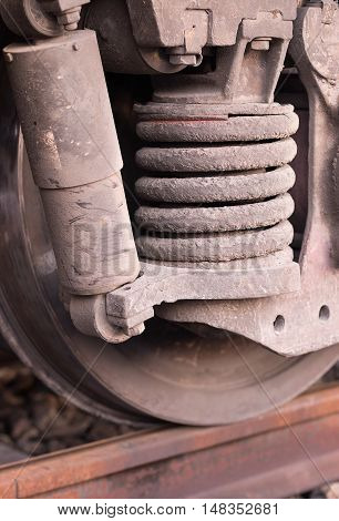 Shock absorber's springs on the side of a train