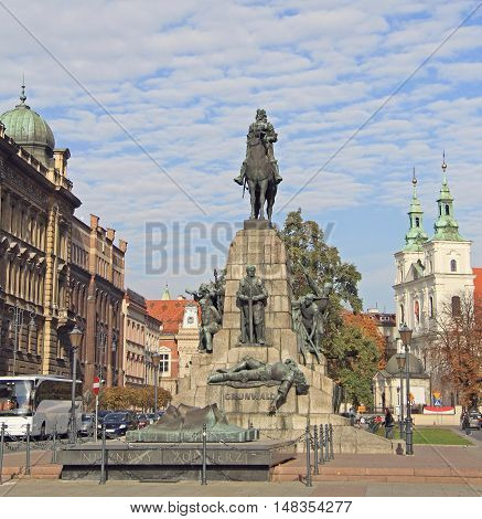 Krakow Poland - October 29 2015: Battle of Grunwald monument in Krakow. A monument to the Battle of Grunwald was erected in Krakow for the battle's 500th anniversary. It was destroyed during World War II by the Germans and rebuilt in 1976